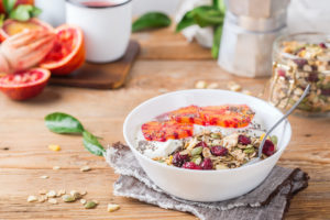 Peel and slice the blood orange and set aside Combine yogurt and 1mL Minny Grown Blood Orange CBD tincture in a bowl Top with sliced oranges, crumbled granola, and coconut shavings if desired Kick your day off with a delicious, CBD-infused breakfast bowl